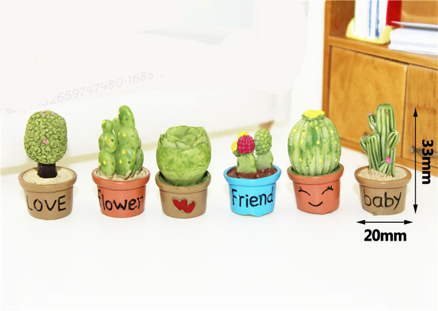 1:6 Scale mini cactus Potted plants Flowers Dollhouse Miniature Toy Doll Food Kitchen living room Accessories decoration