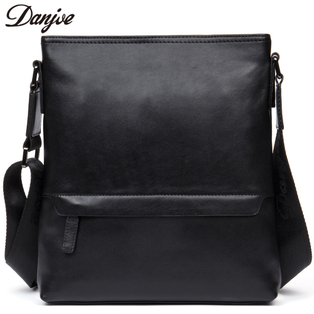 DANJUE Fashion Genuine Leather Shoulder Bag Male Brand Business Men Messenger Bag Soft Cowhide Leather New Men Crossbody Bag danjue genuine leather men travel shoulder bag double zipper designer crossbody bag business fashion real leather briefcase bag