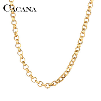 Мужские и женские цепи CACANA, ожерелье из нержавеющей стали золотого и серебряного цвета с круглой пряжкой, не выцветает, A1261