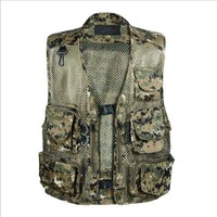 Men's Mesh Vest With Multi Pocket Sleeveless Jean Jacket Colete Business Casual Military Waistcoats Plus Size XL 5XL