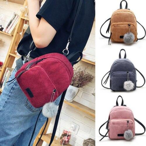 Fashion Women Girls Corduroy Mini Backpack Travel School Backpack Rucksack Fashion With Plush Ball Backpacks Women's Bag