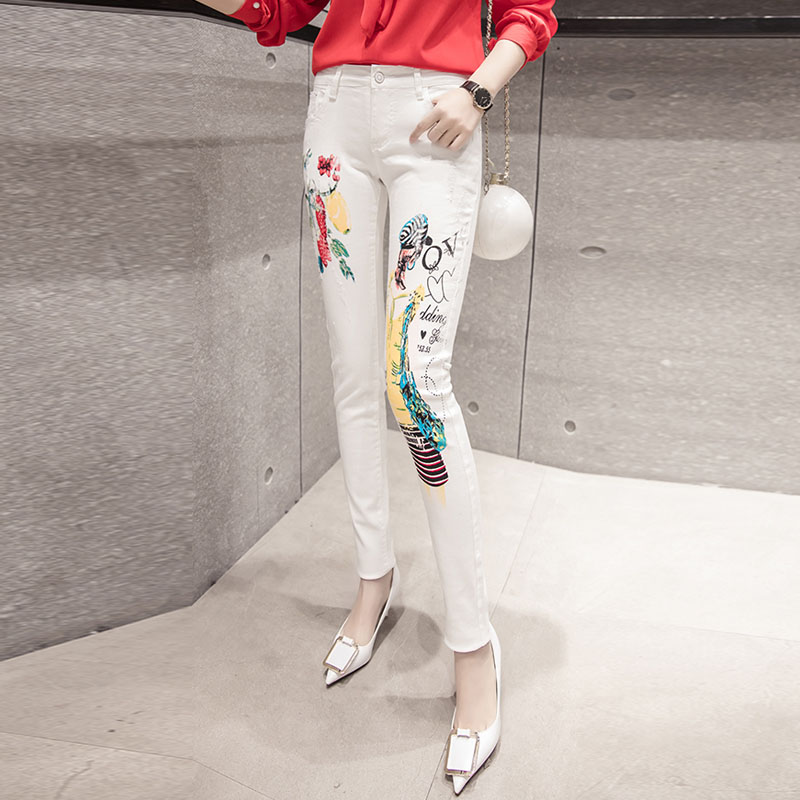 Design Fashion high Waist Skinny jeans white Femme Stretch Fashion Pattern Print Pants Denim with pockets ripped jeans for women new embroidered flower skinny stretch high waist jeans without ripped woman floral denim pants trousers for women jeans j18 z35