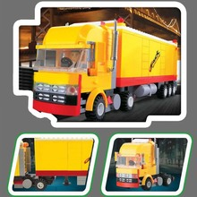 WANGE Brand Big Size 90cm*32cm 1 set Yellow wagons for the transport of goods Building Blocks Model Toys Compatible With 37102