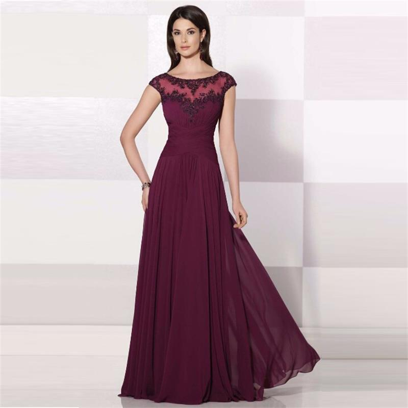 Burgundy Prom Dresses 2015 Abendkleider Long Chiffon With