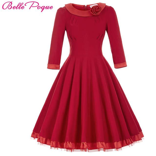 Online Shop Autumn Winter Women Dress 2017 3 4 Sleeve Flower Decorated  Casual Green Red Black Office Dress 1950s Vintage Rockabilly Dress  5e7ab678aef2