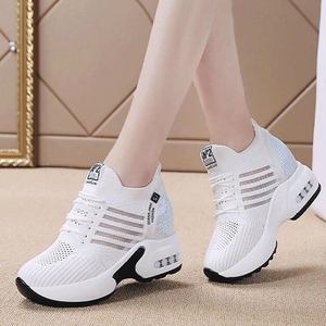 Image 4 - ฤดูใบไม้ร่วงใหม่ถักรองเท้าผ้าใบแฟชั่นผู้หญิงซ่อนรองเท้าส้นสูงรองเท้าผู้หญิงBreathable Platformรองเท้าผ้าใบWedgeรองเท้าW406