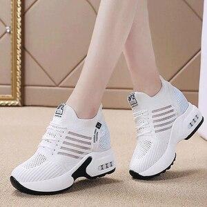 Image 4 - Nowa jesienna Knitting moda trampki kobiety ukryj obcasy obuwie kobieta oddychająca platforma trampki buty na koturnie W406