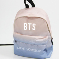 Kpop Home BTS Bangtan Boys Love Youself Same Logo Harajuku Style Unisex Gradient Color Backpack Student