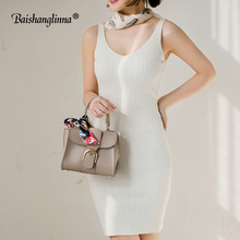 Baishanglinna 2018 new Spring and Summer Women Dress Black Gray Sleeveless Knitted Dresses Sexy Tight Elastic Dress Party dress