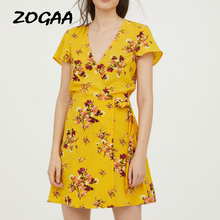 ZOGAA Women Floral Print Mini Dress V-neck Sexy Summer Beach Dress Lady Casual Short Party Dress velvet  women dress v cut choker neck floral velvet dress