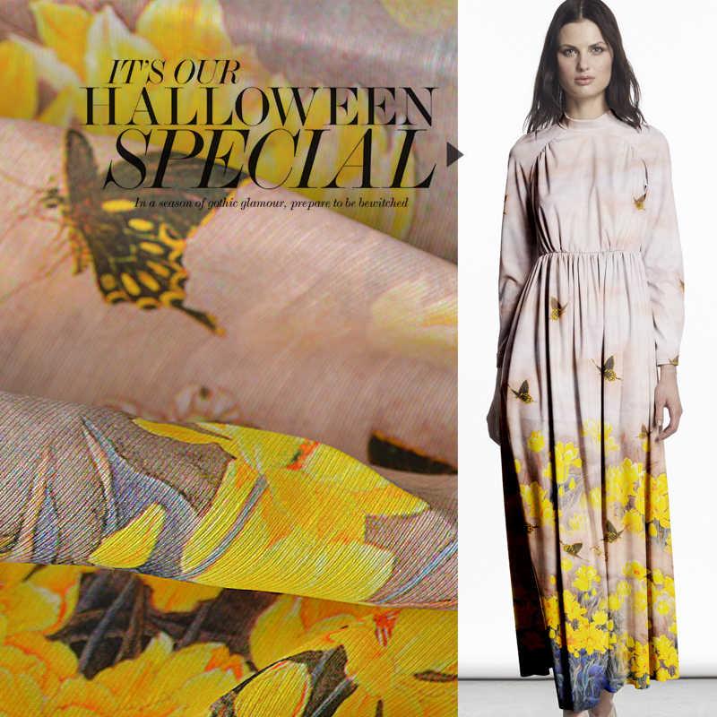 Alta Costura Linho Material de Tecido tecido tecido de cetim pesado Vestido Blous Borboleta e flores de chita amarela Narciso Japão tissu