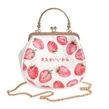 Neue Ankunft Nette Erdbeere Muster Lolita Handtasche für Damen Kawaii messenger bags entzückende mädchen handytasche frauen-messenger-taschen