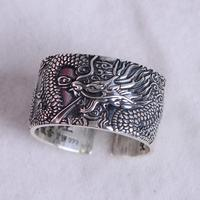 Real 999 Pure Silver Biker Rings With Flying Dragon 1