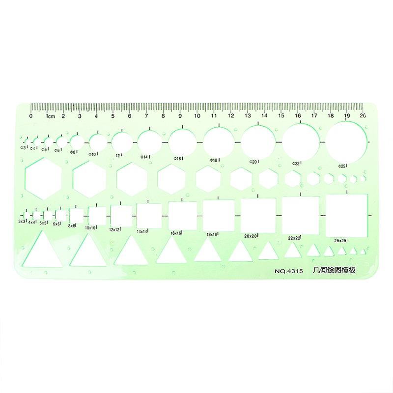 Geometric Plastic Circles Squares Hexagons Triangle Template Ruler Drawing Tool