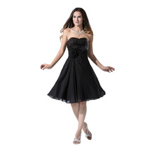 Simple Black Chiffon Cocktail Dress Sweetheart Empire Sequined A-line Ruched Low Back Robe De Soiree Formal 2016 Plus Size Dress