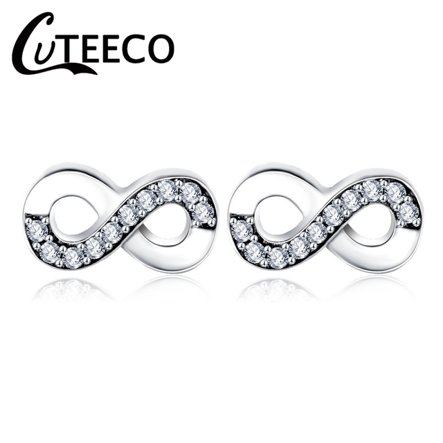 CUTEECO 2018 Hot Sale Silver Infinity Stud Earring Clear CZ Fit Pandora  Earrings for Women Wedding