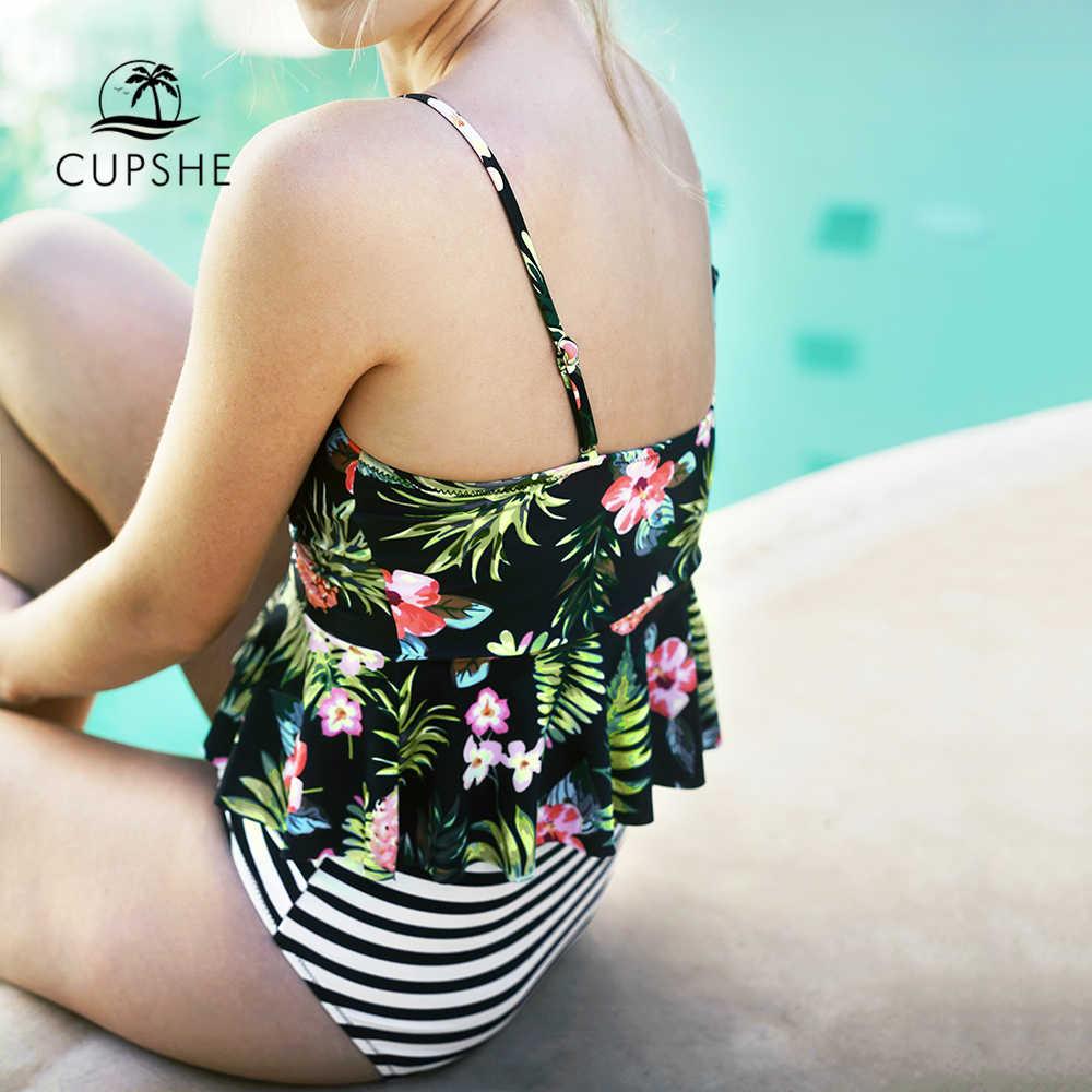 CUPSHE sous l'océan licou Bikini ensemble femmes flore imprimer à volants deux pièces maillots de bain 2020 nouveau rayé taille haute maillots de bain