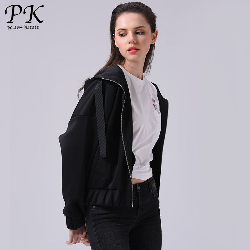 PK 2018 Autumn   Basic     Jacket   Coat Women Boyfriend Veste White Black Solid Bomber   Jacket   Female Coats Hooded Ladies Windbreaker