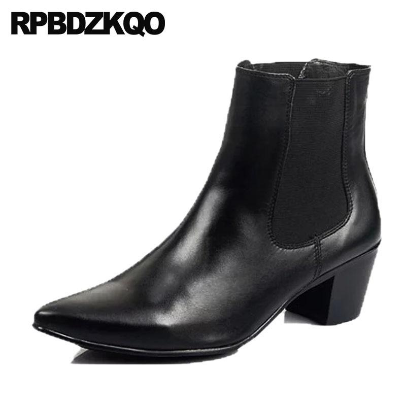 e3e165358 Black Genuine Leather Ankle Boots Thick Heels Men Shoes Cowboy Boots Mens  High Heels Zapatos Hombre Vestir Lace Up Man Oxfords
