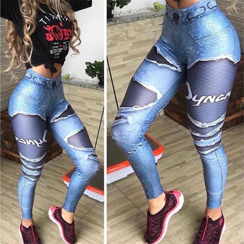 Women 3D Printed Fake Denim Blue Mesh   Leggings   Elastic Workout   Legging   Pants Fashion 2019 Female   Leggings   Plus Size Femme