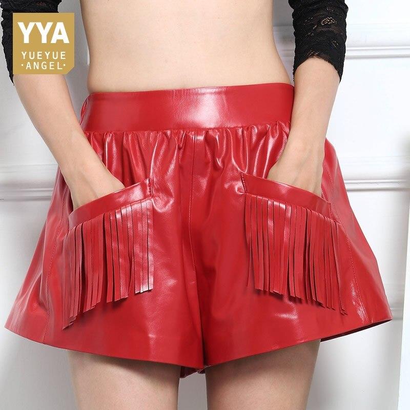 Cintura Cortos Piel Corto Elástica Borla Pantalones Marea Ancho Red Bolsillo Rojo black Oveja Mujer Otoño La Negro Pierna De Mujeres W8qfPg