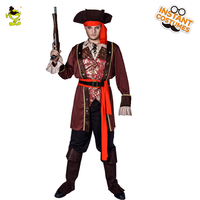 New Arrival Men's Luxury Pirate Costume Fancy Dress In Halloween Carnival Party Masquerade Deluxe Pirate Clothes Cosplay Pirate