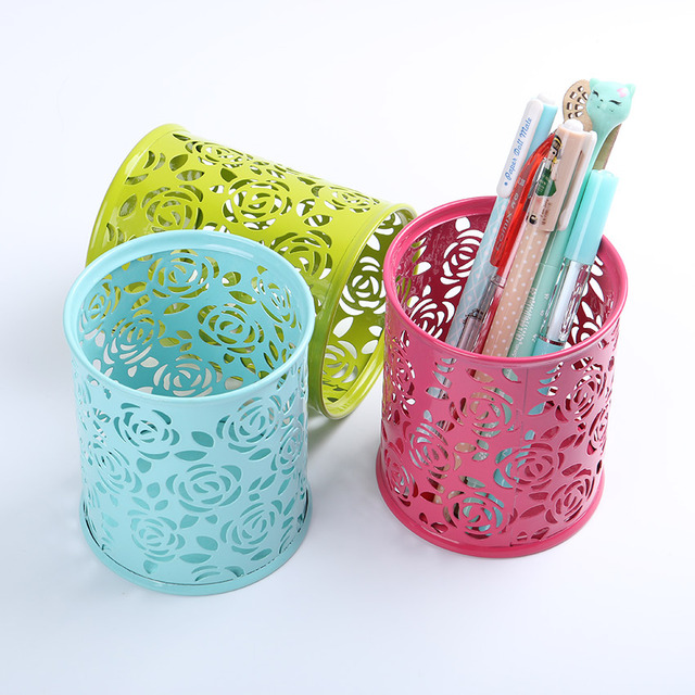 1PC Office Supplies Pencil Pen Pot Holder Stationery Container 4 Colors Hollowed Out Iron Rose Flower Round Pen Holders