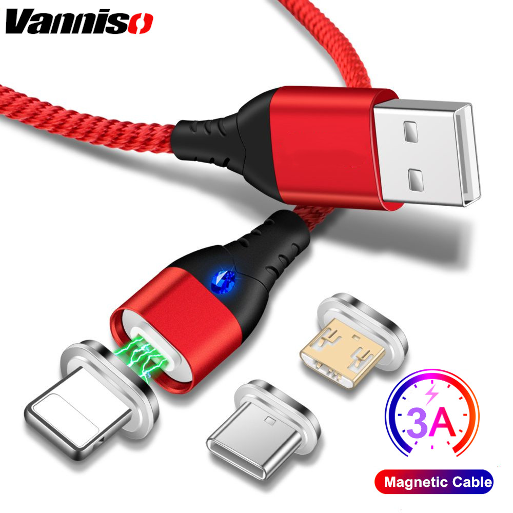 Vanniso 3A fast Charging Magnetic Micro USB Cable For iPhone X 7 8 xr Samsung s10 S9 usb Type C Magnet Android Phone Cables Cord in Mobile Phone Cables from Cellphones Telecommunications