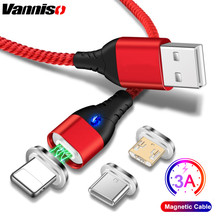 Vanniso 3A fast Charging Magnetic Micro USB Cable For iPhone X 7 8 xr Samsung s10 S9 usb Type C Magnet Android Phone Cables Cord