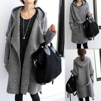 2016 New Hot Sale Women Autumn Winter Long Style Knitted Cardigans Coat Womens Simple Loose Hooded