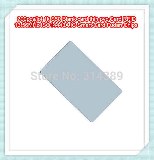 200pcs/lot 1k S50 Blank card thin pvc Card RFID 13.56MHz ISO14443A IC Smart Card Fudan Chips Waterproof 100pcs lot non contact 13 56mhz blank smart rfid pvc ic card 1024 byte eeprom iso14443a