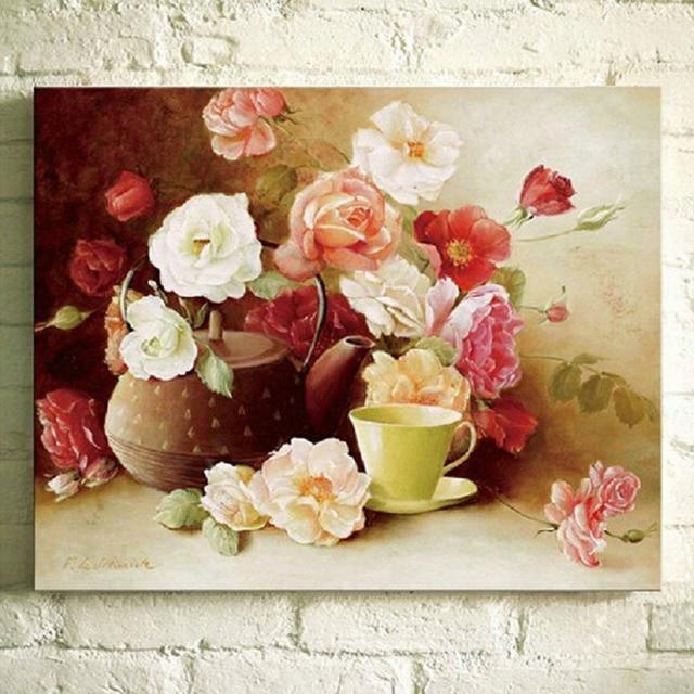 Хлопок шелк нить dmc вышивки крестом наборы 100% напечатаны вышивка diy цветок картина ручной рукоделие домашнего декора
