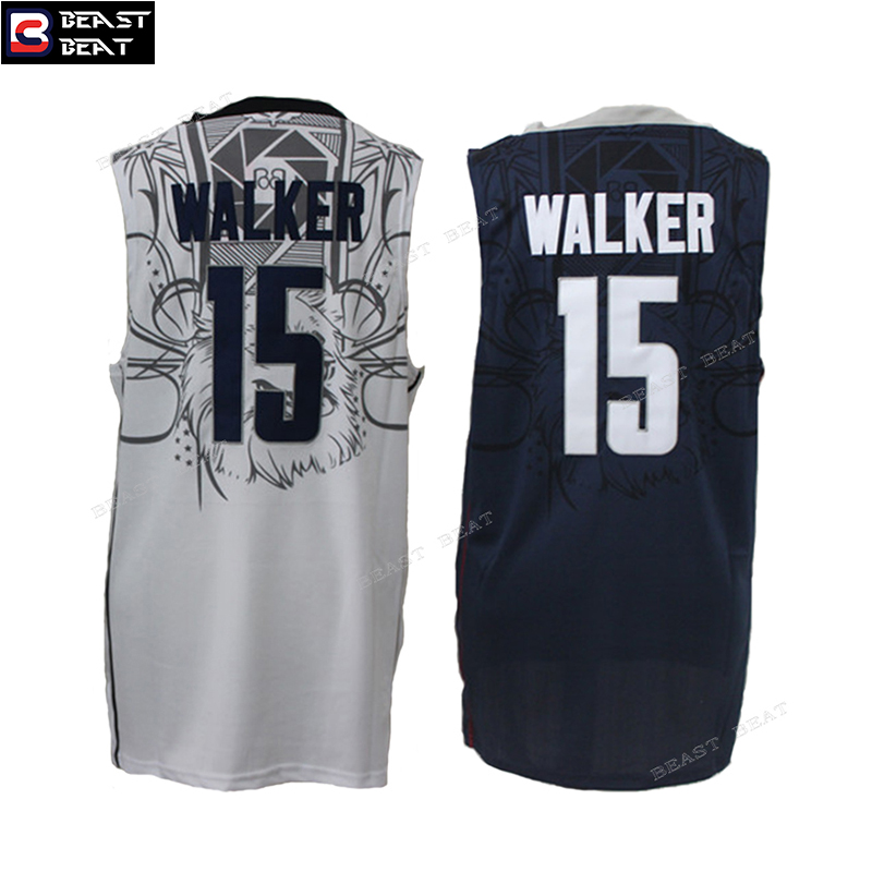 Beast Beat Kemba Walker #15 Throwback UCONN University Basketball Jerseys White Blue Student Team Breathbale Streetball Jerseys