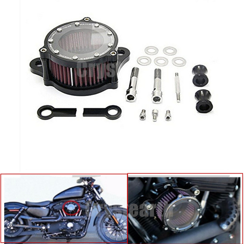 Motorcycle Air Cleanser Intake Filter System Kit For Harley Sportster 883 Deluxe XL Custom XL1200 Custom 2004-2015 2013 2014 epman universal 3 aluminium air filter turbo intake intercooler piping cold pipe ep af1022 af