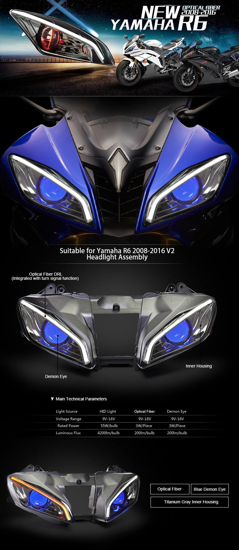 Kt Headlight For Yamaha Yzf R6 2008 2016 Led Optical Fiber Blue Wiring Harness Diagram 08 16 B 01