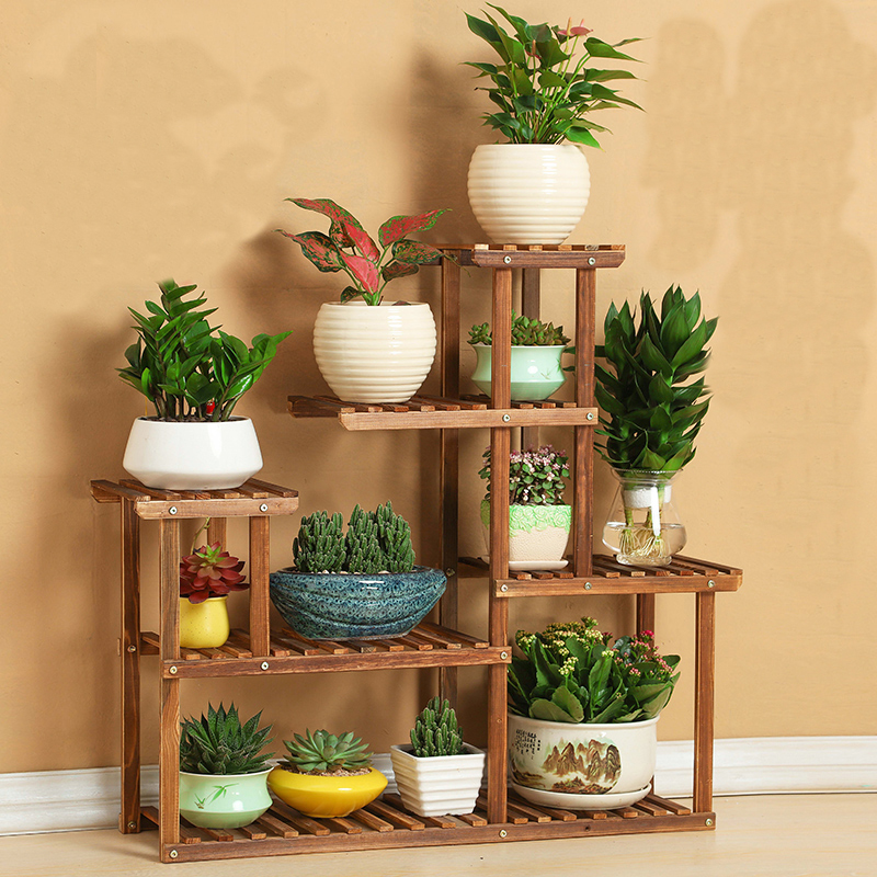 Buy wood flower rack home garden decor 6 tier etagere plant shelves pot display - Garden decor stores ...