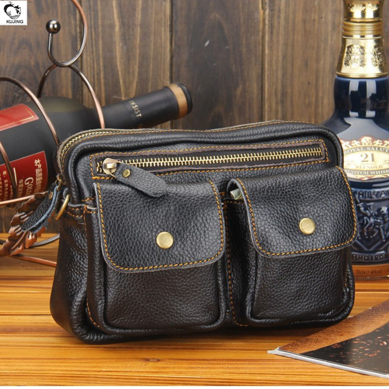 KUJING male bag multi-purpose wear-resistant waterproof leather shoulder Messenger bag quality travel shopping leisure package