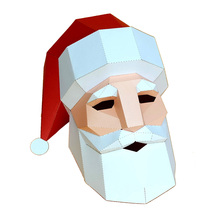 3D Paper Mask Fashion Santa Claus Costume Cosplay DIY Paper Craft Model Mask Christmas Halloween Prom Party Gift