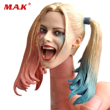1/6 female girl clown joker Harley Quinn head sculpt laughing version for 12 inches action figures