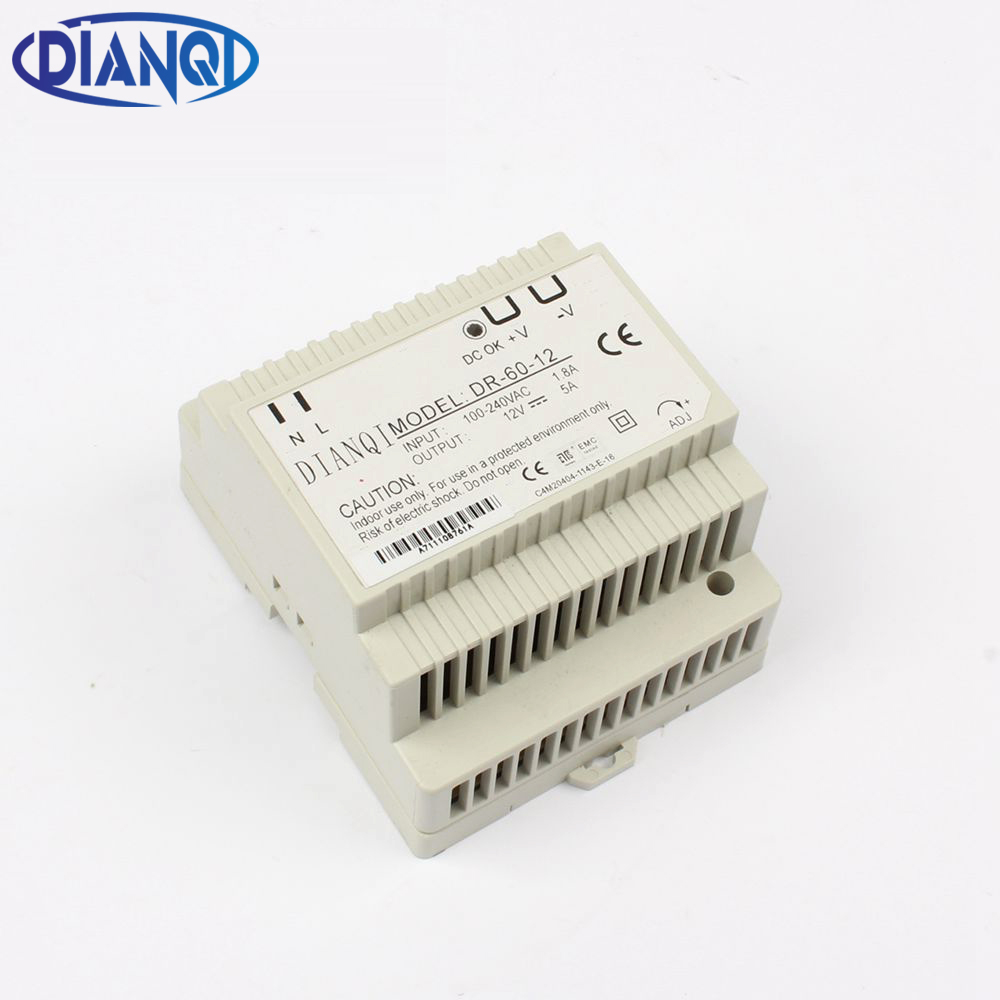 DIANQI Din rail power supply 60w 12V ac dc converter dr-60-12  power suply 12v 60w good quality ac dc dr 60 5v 60w 5vdc switching power supply din rail for led light free shipping