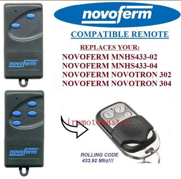 NOVOFERM NOVOTRON 302/304,NOVOFERM MNHS433-02/04 replacement remote control novoferm novotron 504 max43 4 transmitter 433 92mhz rolling code free shipping