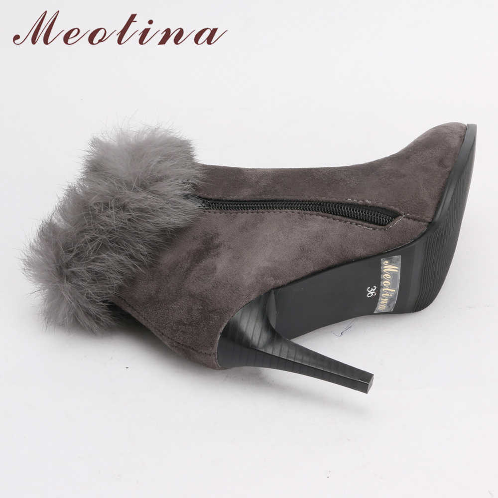 b19d0d553dd ... Meotina Women Ankle Boots High Heels Winter Shoes Fur Zip Stiletto Thin Heels  Short Boots Pointed ...