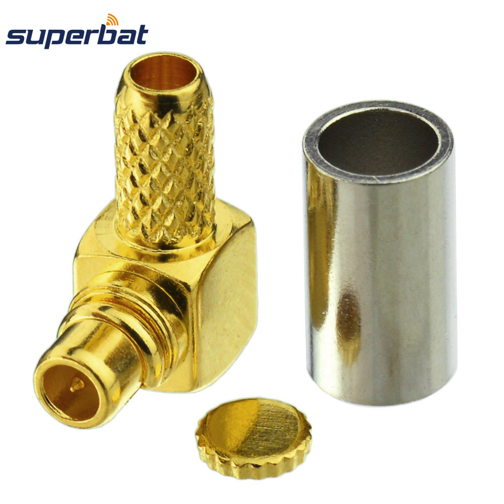 Superbat 10Pcs MMCX Crimp Plug Male Right Angle Coax RF Connector For Coaxial Cable RG174,RG316,LMR100 Free Shipping