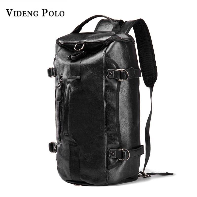 VIDENG поло Для мужчин рюкзак кожаный бренд 14 дюймов ноутбука дорожные сумки большой Ём ...