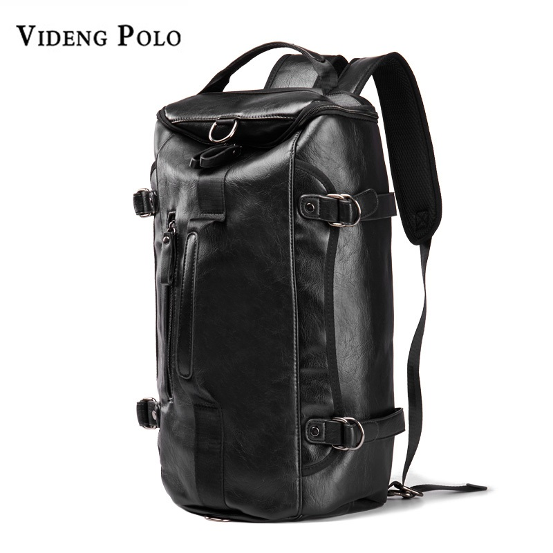 VIDENG POLO Men Backpack Leather Brand 14 Inch Laptop Travel Bags Large Capacity Bagpack School Bag Casual Male Daypack Mochila vicuna polo men leather usb cable travel laptop backpack with headphone hole school backpack has front pocket bagpack mochila
