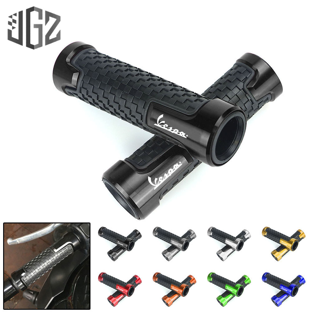 Pair Motorcycle CNC Aluminum Rubber Gel 22mm Handle Bar Grip Scooter Hand Grips For Vespa GTS 300 250 125 Sprint Accessories
