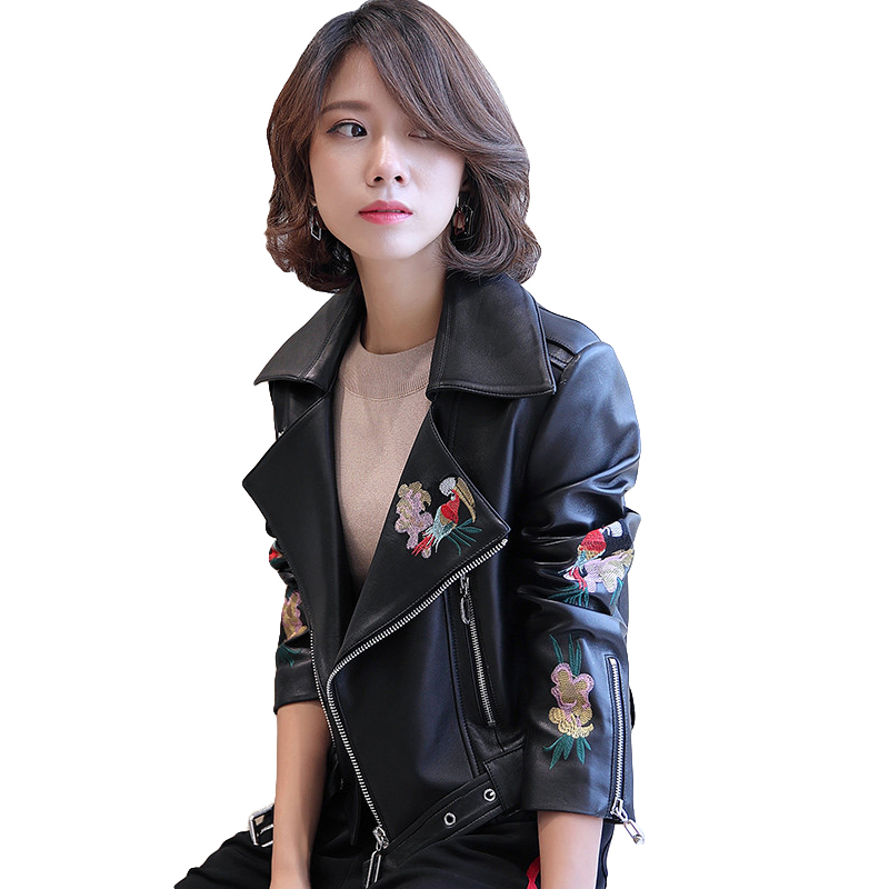 2019 New Fashion Floral Embroidery Women's Jacket High Quality Really   Leather   Jacket For Women Motorcycle Jacket Female Coat