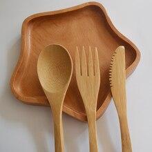 Wooden Cutlery Set Chopsticks Butter Knife Dessert Spoon Dinner Fork Tea Ice Tableware 4YANG