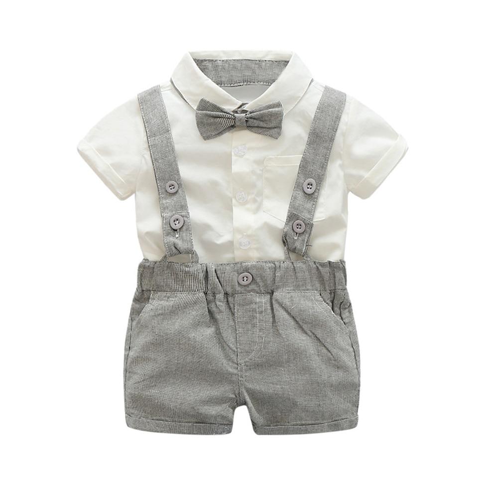 7b03cdbee76 Children clothing Kids Baby Boys Summer Gentleman Bowtie Short Sleeve  Shirt+Suspenders Shorts Set Children Summer #25