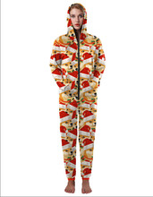 High quality women s christmas dog print Jumpsuit winter cute hooded one pieces overalls